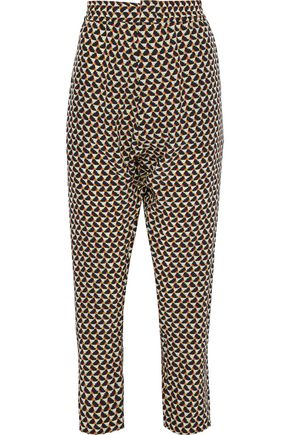 MARNI Cropped printed silk-crepe tapered pants