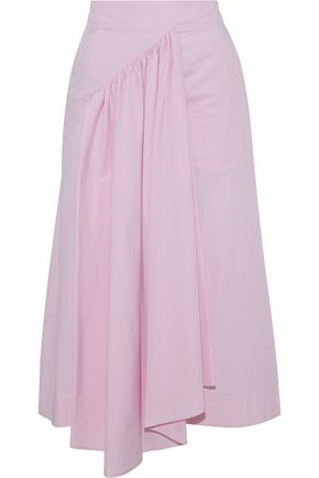 SIMONE ROCHA Asymmetric striped cotton-poplin midi skirt