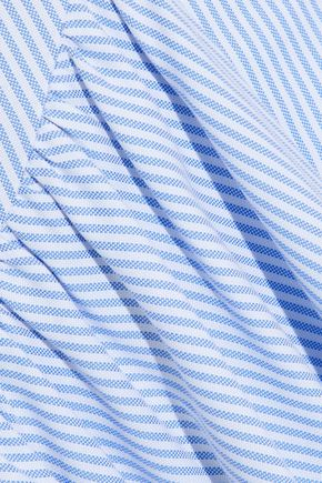SIMONE ROCHA Asymmetric striped cotton-poplin midi skirt