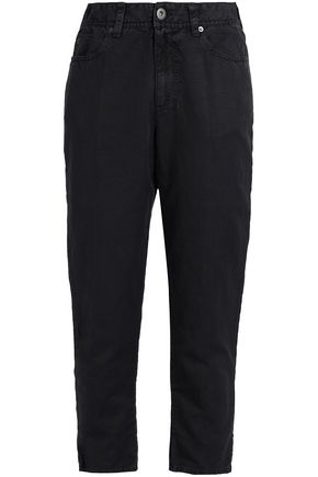 JAMES PERSE Cropped cotton and linen-blend piqué tapered pants