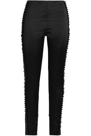 KOCHÉ Embellished satin skinny pants