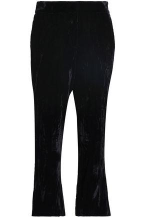 KOCHÉ Cropped velvet straight-leg pants
