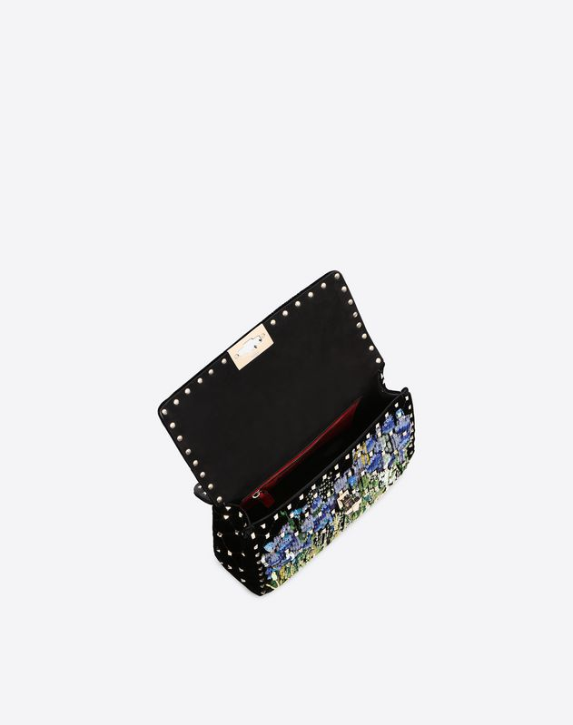 Medium Embroidered Velvet Rockstud Spike.it Bag