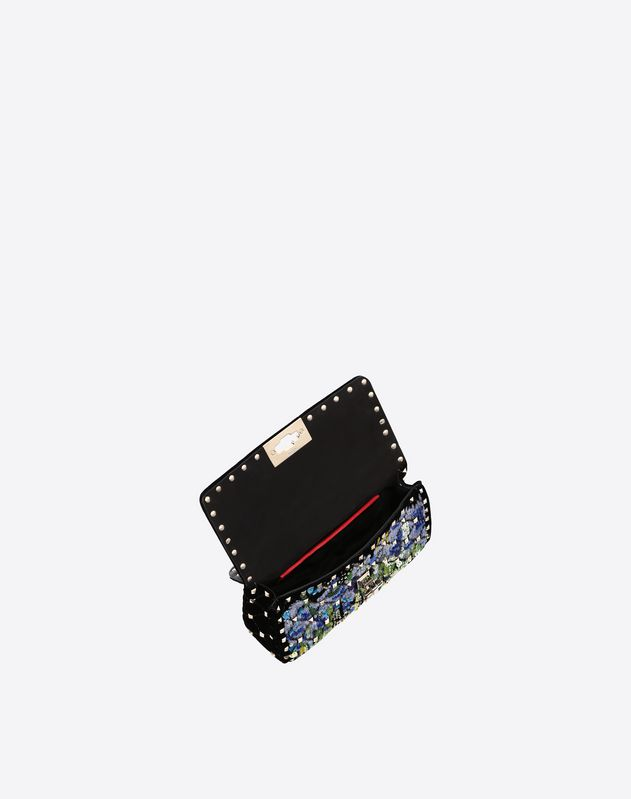 Small velvet embroidery Rockstud Spike.it Bag