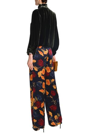 MOTHER OF PEARL Floral-print silk crepe de chine straight-leg pants