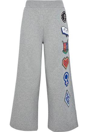 OPENING CEREMONY Cropped appliquéd neon cotton-fleece track pants