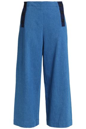 CHINTI AND PARKER Grosgrain-trimmed high-rise wide-leg jeans