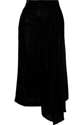 SIMONE ROCHA Draped velvet midi skirt