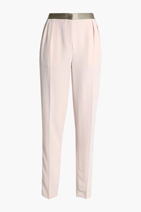 VIONNET Silk satin-trimmed crepe tapered pants