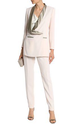 VIONNET Silk satin-trimmed crepe tapered pants