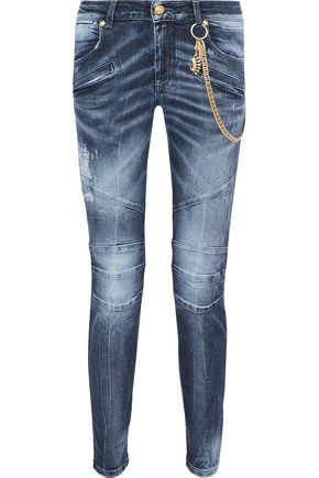 WOMAN MOTO-STYLE EMBELLISHED DISTRESSED MID-RISE SKINNY JEANS MID DENIM