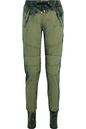 PIERRE BALMAIN Moto-style bleached cotton-fleece track pants