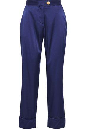 PIERRE BALMAIN Cropped silk-blend satin straight-leg pants