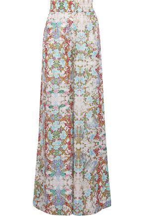 PIERRE BALMAIN Woman Floral-Print Cotton And Silk-Blend Wide-Leg Pants Off-White