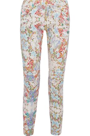 WOMAN MOTO-STYLE CROPPED FLORAL-PRINT LOW-RISE SLIM-LEG JEANS OFF-WHITE