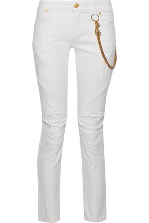 WOMAN MOTO-STYLE EMBELLISHED DISTRESSED LOW-RISE SKINNY JEANS WHITE