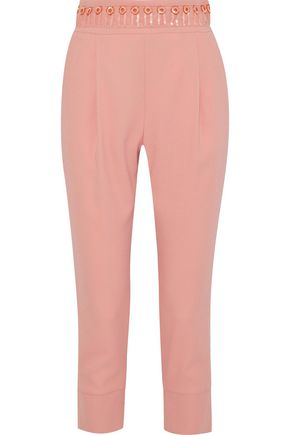 PIERRE BALMAIN Cropped sequin-embellished crepe tapered pants