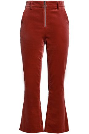 FRAME Cotton-blend velvet bootcut pants