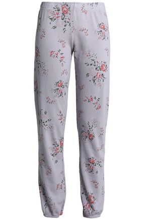 MONROW Floral-print French terry track pants