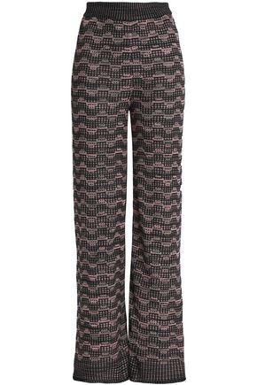 M MISSONI Metallic crohet-knit wide-leg pants
