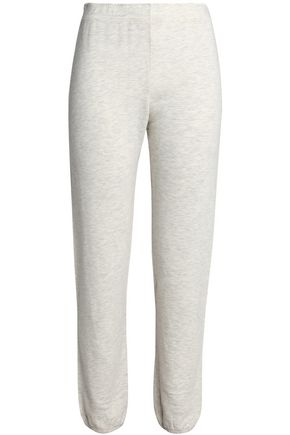 MONROW Mélange French cotton-blend terry track pants