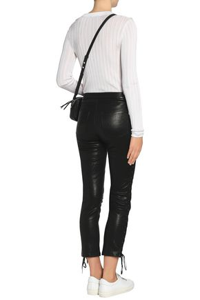 FRAME Cropped lace-up leather skinny pants