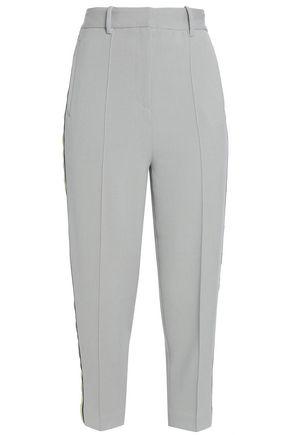 DAY BIRGER ET MIKKELSEN Grosgrain-trimmed piqué tapered pants