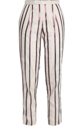 DAY BIRGER ET MIKKELSEN Metallic striped canvas tapered pants