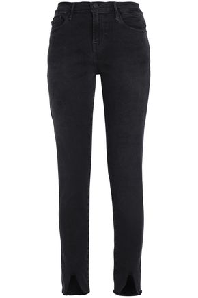 FRAME Frayed high-rise skinny jeans