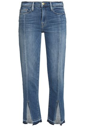 FRAME Frayed faded mid-rise slim-leg jeans