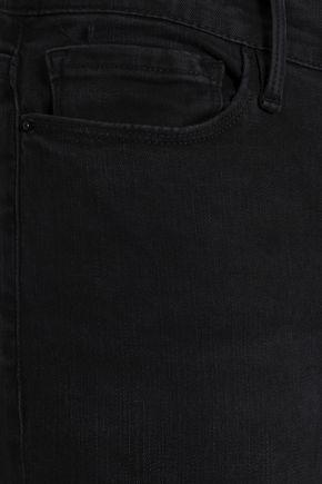 FRAME Frayed mid-rise skinny jeans