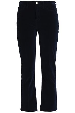 FRAME Cotton-blend velvet flared pants