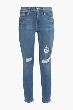 FRAME Distressed mid-rise skinny-leg jeans