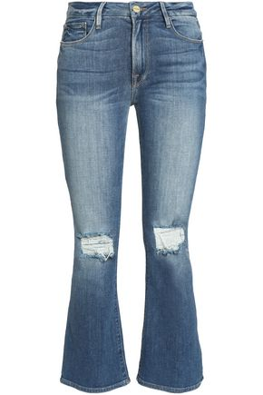 FRAME Distressed mid-rise kick-flare jeans