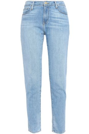 FRAME Faded mid-rise slim-leg jeans