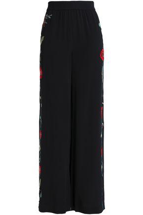 VILSHENKO Embroidered silk wide-leg pants