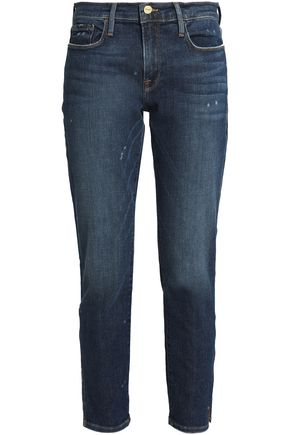FRAME Distressed mid-rise straight-leg jeans