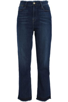 FRAME Frayed high-rise straight-leg jeans