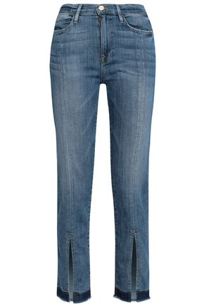 FRAME Cropped split-front mid-rise straight-leg jeans