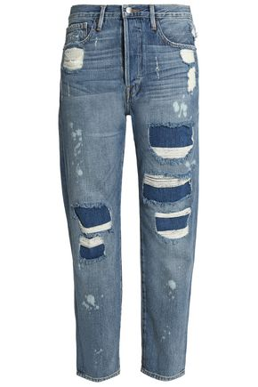 FRAME Distressed mid-rise boyfriend jeans