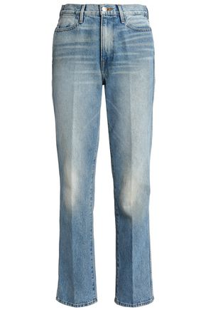 FRAME Bleached high-rise straight-leg jeans