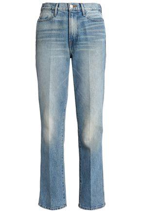 FRAME Bleached high-rise straight-leg jeans