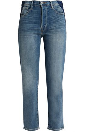 FRAME Two-tone high-rise slim-leg jeans