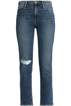 FRAME Distressed mid-rise slim-leg jeans
