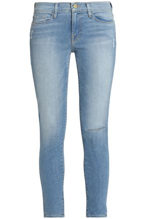 FRAME Distressed cropped mid-rise skinny jeans