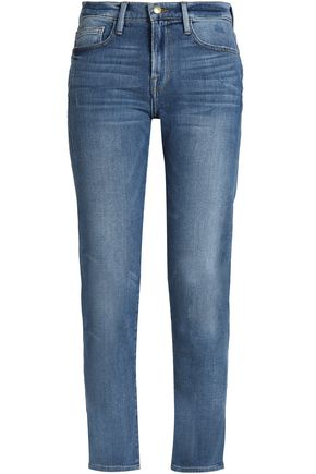 FRAME Cropped high-rise slim-leg jeans