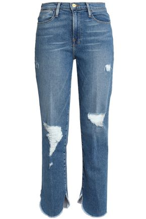 FRAME Distressed frayed high-rise slim-leg jeans