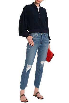 FRAME Distressed frayed high-rise slim-leg jeans