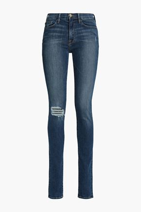 FRAME Distressed high-rise skinny jeans