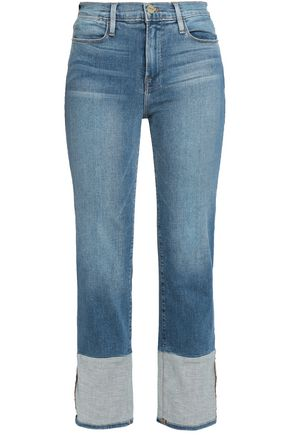 FRAME Two-tone high-rise straight-leg jeans